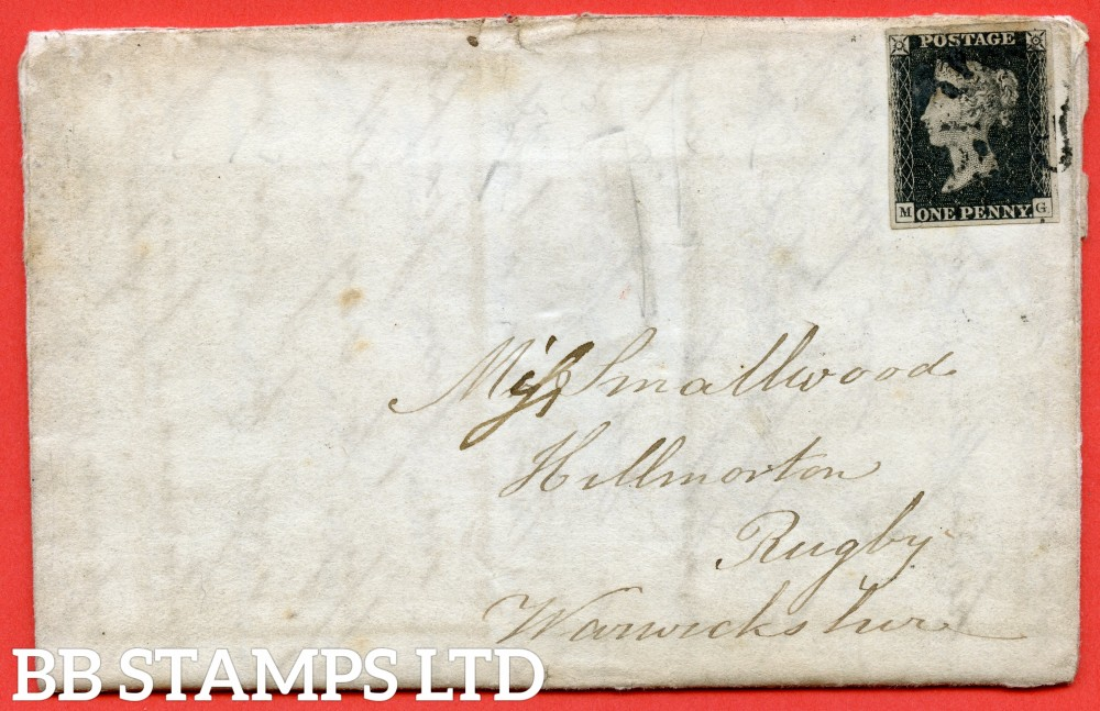 """SG. 2. A1 (2). AS5 h. """" MG """". 1d black. Plate 1b. A good used example on cover from SANCTON via MARKET WEIGHTON to RUGBY dated 3rd June 1841. With the lsted """" Left side line recut """" variety."""