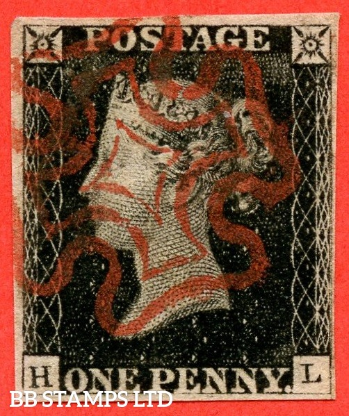 """SG. 2. A1 (2). AS5 h & i. """" HL """". 1d black. Plate 1b. A very fine used example. With the listed varieties """" Left side line recut and SW square recut with break """" and constant varieties """" Ray Flaws 10 / 7 NW SQ and burr rub under ' E ' of ' PENNY ' """"."""