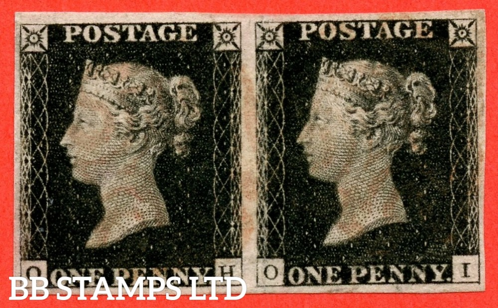 "SG. 2 bb. A1 (2) f. AS5 b & e. "" OH OI "". 1d black. Plate 1b. A fine used horizontal pair ' OI ' with the listed variety "" Re-entry "". Both also have the "" Ray Flaws 10 / 7 NW square "" variety."