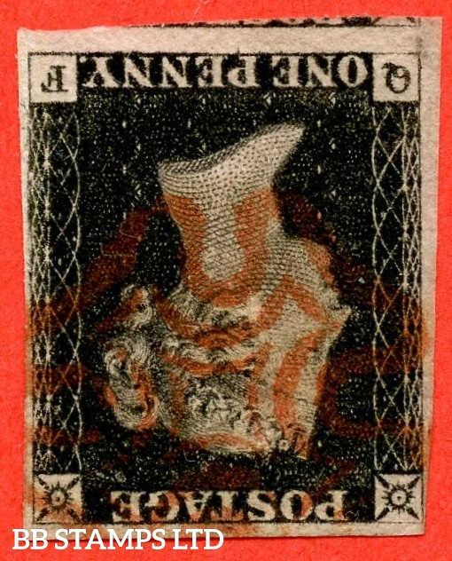"SG. 2 wi. A1 (2) e. AS5 l. "" QF "". 1d black. Plate 1B. INVERTED WATERMARK. A fine used example with the variety "" Ray flaw 10 / 7 NW square ""."