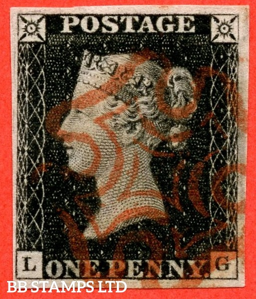 """SG. 2. A1 (2). AS5. """" LG """". Plate 1b. 1d black. A very fine used example with the """" Ray flaws 10/5 NW square and scratches on bottom margin """" varieties."""