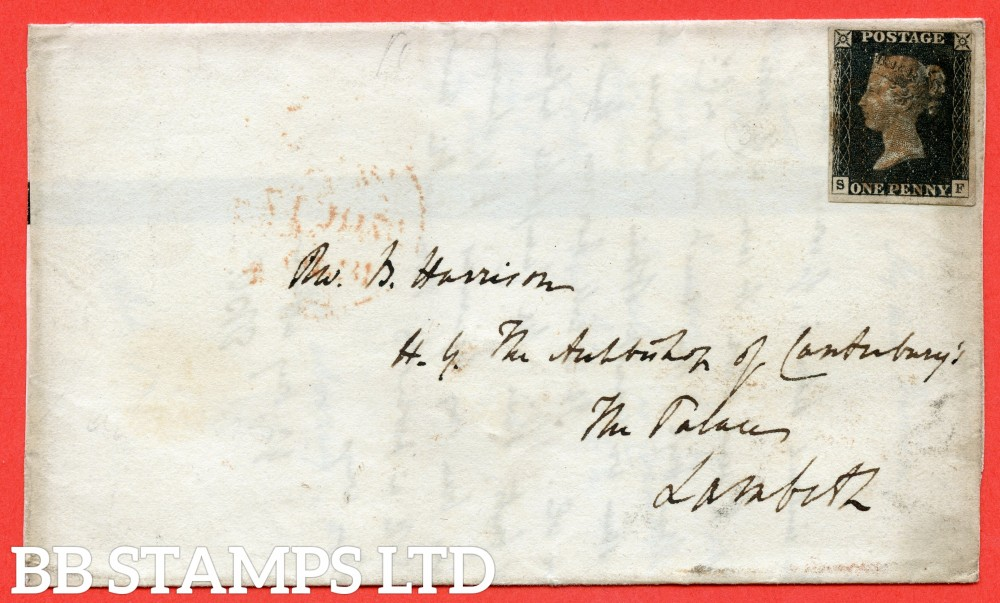 """SG. 2. A1 (2). AS5. """" SF """". 1d black. Plate 1b. A good used example on cover from OXFORD to LONDon dated 17th October 1840. Addressed to """" HIS GRACE THE ARCHBISHOP OF CANTERBURY AT LAMBETH PALACE """"."""