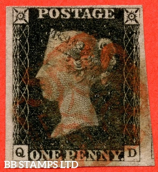 "SG. 2. A1 (2). AS5 g. "" QD "". 1d black. Plate 1b. A fine used example with the listed variety "" Burr rub to bottom line with ' NE ' of ' ONE ' joined "" and constant "" Ray Flaws 10 / 7 NW square ""."