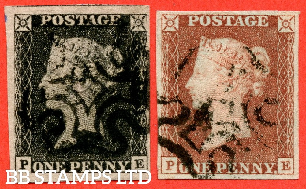 """SG. 2 & 7. AS5 & AS6. """" PE """". Plate 1b. A fine used matched pair cancelled by black maltese cross. With the constant variety """" Ray Flaws 10 / 7 NW SQ. """"."""