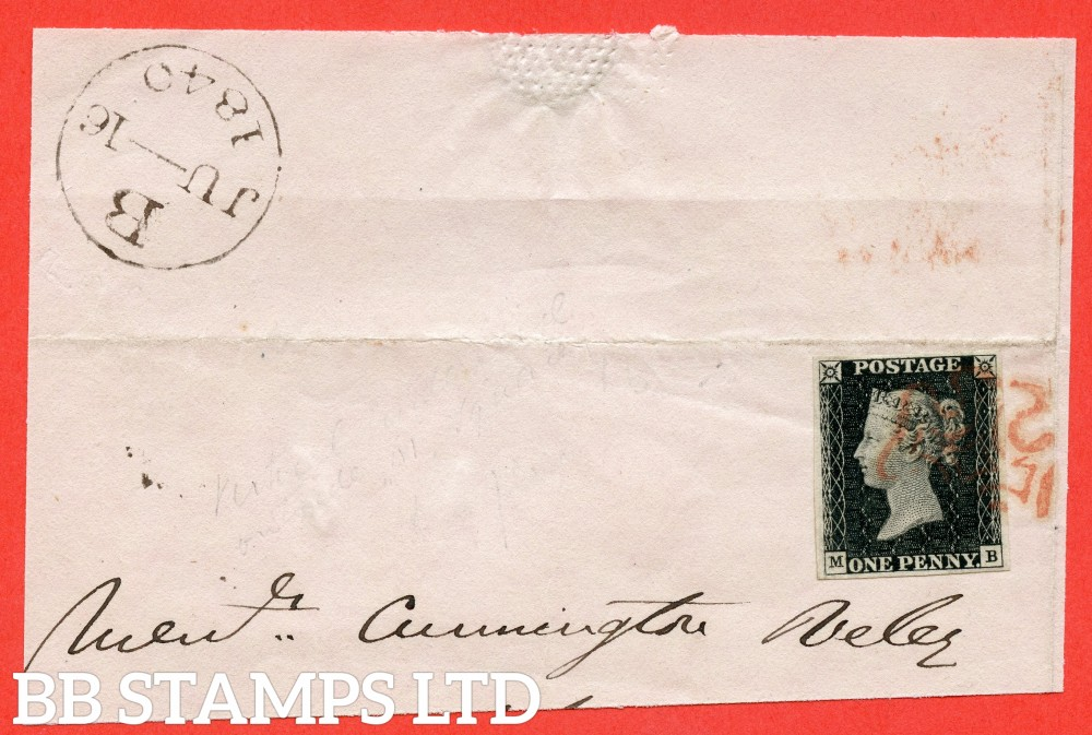 """SG. 2. A1 (2). AS5. """" MB """". 1d black. Plate 1b. A very fine used example on part cover dated 16th June 1840. A VERY EARLY impression from the repaired plate ( the earliest known date is 12th June )"""