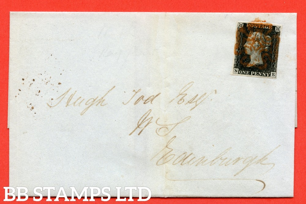 "SG. 2. A1 (2). AS5 e. "" NE "". 1d black. Plate 1b. A fine used example on cover from PERTH to EDINBRGH dated 2nd September 1840. With the listed variety "" ' N ' retouched "" . Also "" Ray Flaws 10 / 7 NW square "" variety."