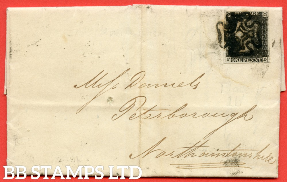 """SG. 2. A1 (2). AS5 g. """" FD """". 1d black. Plate 1b. A good used example on cover from BALDOCK to PETERBOROUGH dated 18th March 1841. With the listed variety """" Burr rubs ' NE ' of ' ONE ' nearly joined. """"."""