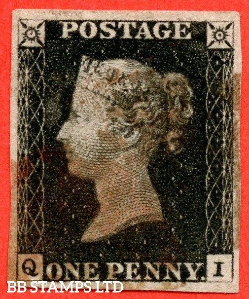 """SG. 2. A1 (2). AS5. """" QI """". 1d black. Plate 1b. A good used exxample cancelled by a red maltese cross with the """" Ray Flaws 10 / 7 NW SQ. """" variety. Also """" Bottom line of SE square doubled ( thinly ) """"."""