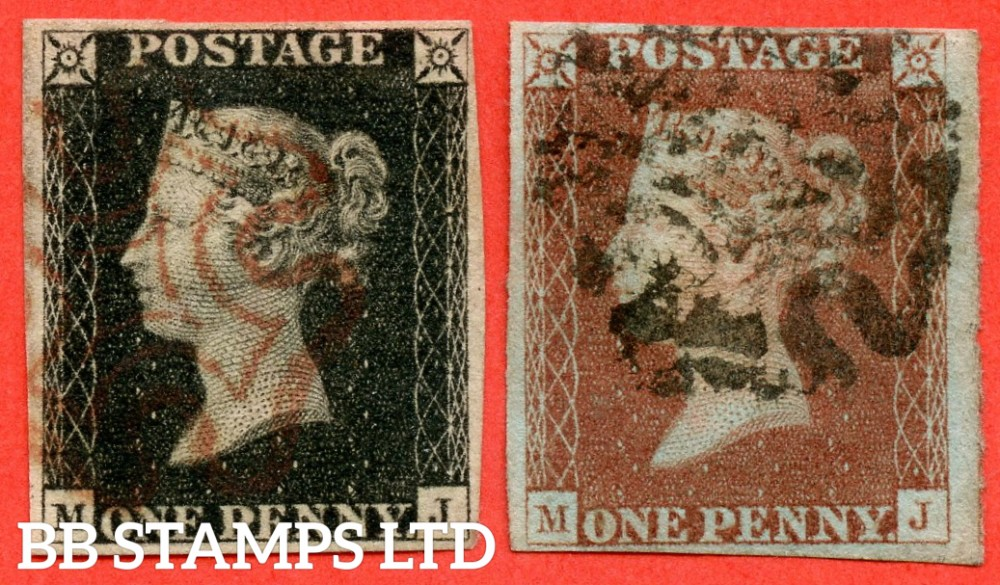 "SG. 2 & 7. AS5 & AS6. "" MJ "". Plate 1b. A fine used matched pair. With the constant varieties "" Ray flaws 10 / 7 NW Square ""."