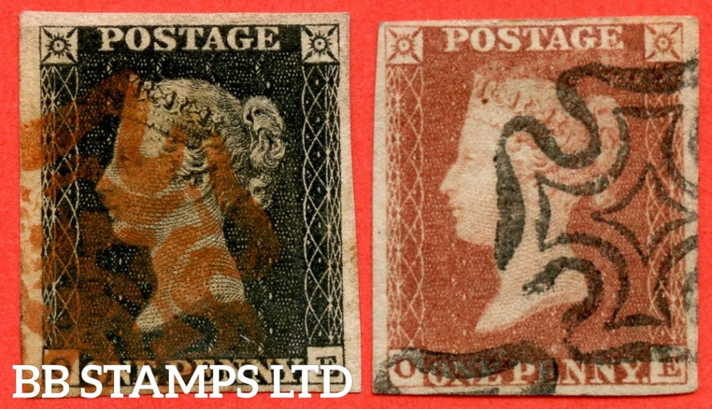 """SG. 2 & 7. AS5 & AS6. """" OE """". Plate 1b. A good used matched pair with the variety """" Ray flaws 10 / 7 NW square."""