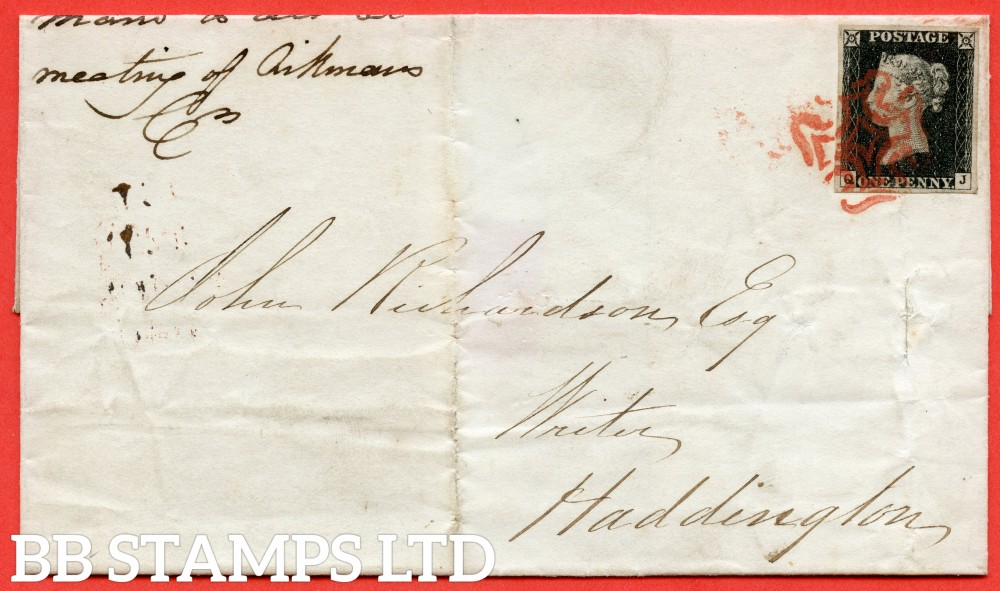 """SG. 2. A1 (2). AS15. """" QJ """". 1d Black. Plate 2. A fine used example on cover from EDINBURGH to HADDINGTON dated 28th October 1840. With the """" Ray flaws 10/7 NW square """" variety."""
