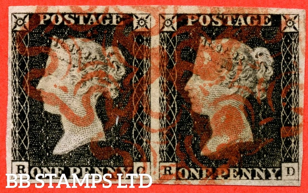 """SG. 2. A1 (2). AS15. """" RC RD """". 1d Black. Plate 2. A fine used horizontal pair with the """" Ray flaws 10 / 7 NW square. ' RD ' has right side line extends below and bottom line thin under ' EPE of ' ONE PENNY """" varieties."""