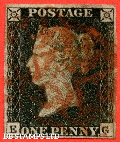 """SG. 2. A1 (2). AS15. """" EG """". 1d black. Plate 2. A good used example cancelled by a red maltese cross."""