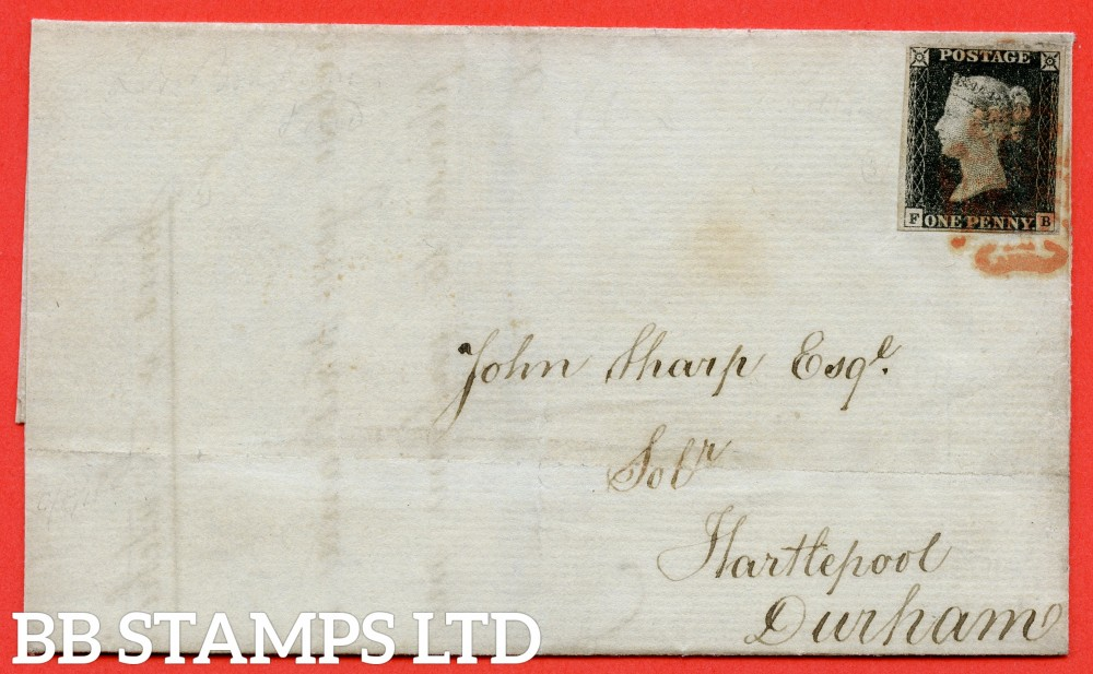 "SG. 2. A1 (2). AS15. "" FB "". 1d black. Plate 2. A fine used example on cover from LONDON to HARTLEPOOL dated 16th October 1840. With the "" Ray flaw 7 o'clock NW square "" variety."