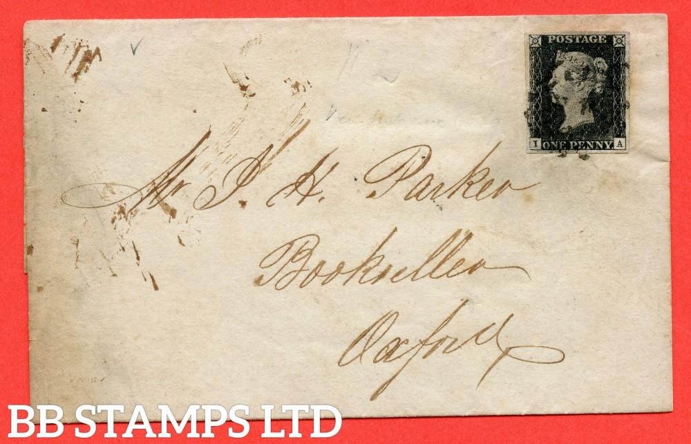 """SG. 2 c. A1 (2) h. AS15 f & m. """" IA """". 1d Black. Plate 2. A good used example on cover from LONDON to OXFORD dated 2nd March 1841. With the listed """" without ray flaws FF - JL and cancelled by a BLACK MX """" varieties."""