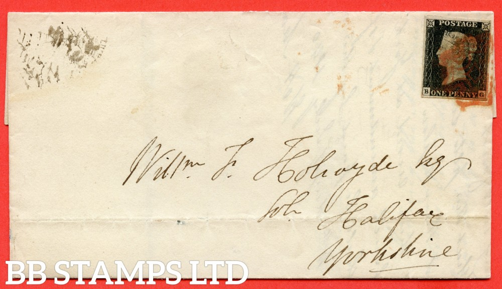 """SG. 2. A1 (2). AS15. """" BG """". 1d Black. Plate 2. A fine used example on cover from LONDON to HALIFAX dated 10th July 1840. With the """" Ray Flaw 10 /7 o'clock NW square """" variety."""