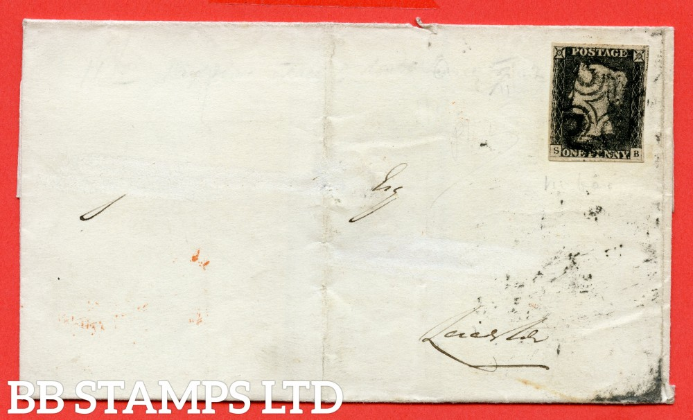 """SG. 2. A1 (2). AS15 m. """" SB """". 1d black. Plate 2. A very fine used example on cover from BANGOR to LEICESTER dated 20th April 1842. With the listed """" Cancelled by black MX """" variety. Also """" Ray Flaw 7 NW Square """" variety."""