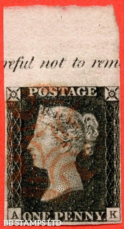 """SG. 2. """" AK """". 1d Black. Plate 2. A very fine top marginal """" reful not to rem """" used inscriptional example."""
