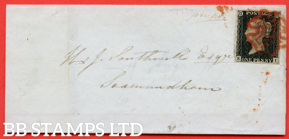 """SG. 2. A1 (2). AS15. """" KI """". 1d Black. Plate 2. A fine used example on cover from IPSWICH to SAXMUNDHAM dated 19th August 1840. With the """" Ray flaws 10/7 NW square and burr rub to base line below ' PE ' of ' PENNY ' """" varieties."""