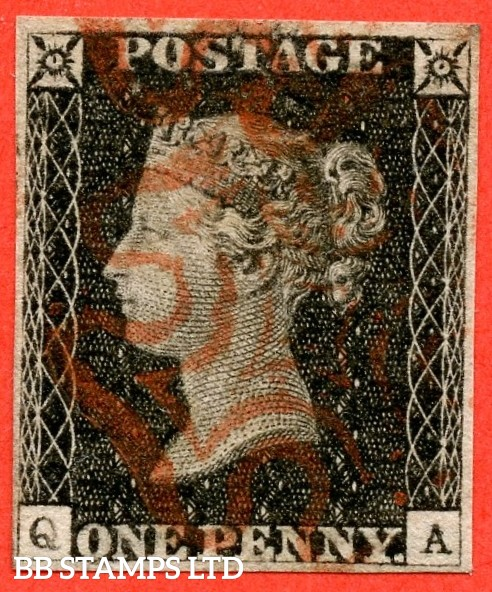 """SG. 3. A1 (3). AS16. """" QA """". 1d grey - black. Plate 2. A fine used example cancelled by a red maltese cross. With varieties """" Burr rub to bottom of ' E PE ' of ' ONE PENNY. ' Q ' defective and ray flaws 10 / 7 NW square """"."""
