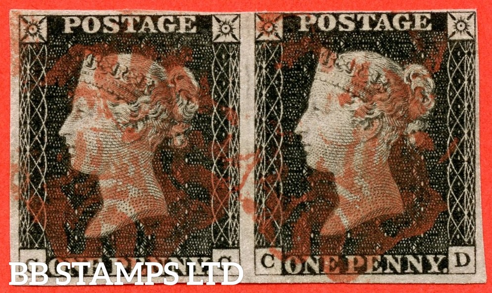"""SG. 2 c. A1 (2) h. AS15. """" CC CD """". 1d black. Plate 2. A fine used horizontal pair. With the listed variety """" Vertical guide line in NE sq. """" and constant varieties """" Ray flaws 10 & 7 o'clock NW Square and right side extends below """"."""