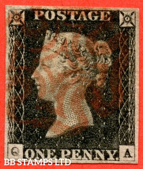 "SG. 2. A1 (2). AS15. "" QA "". 1d black. Plate 2. A fine used example cancelled by a red maltese cross. With varieties "" Burr rub to bottom of ' E PE ' of ' ONE PENNY. ' Q ' defective and ray flaws 10 / 7 NW square ""."