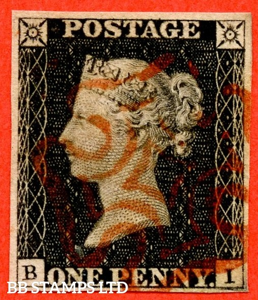 """SG. 2. A1 (2). AS15. """" BI """". 1d black. Plate 2. A very fine used example cancelled by a red maltese cross. With the """" Ray Flaws 10 & 7 o'clock NW Square """" variety."""