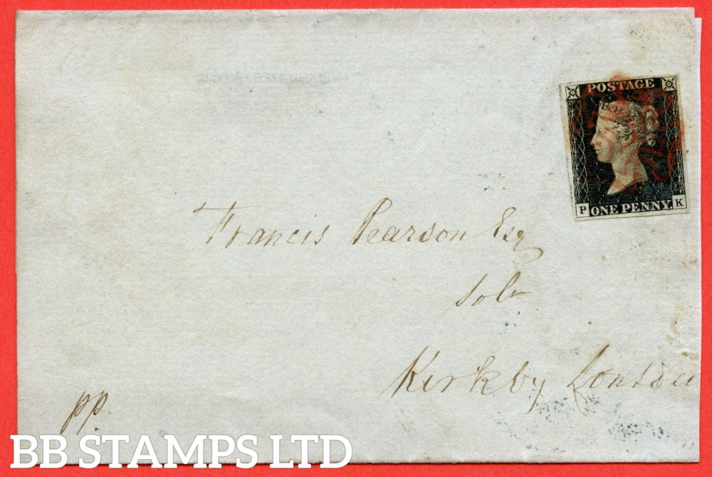 "SG. 2. A1 (2). AS15. "" PK "". 1d Black. Plate 2. A very fine used example on cover from APPLEBY to KIRKBY LONSDALE dated 11th November 1840. With the "" Short horizontal lines in NW square and above NE corner "" varieties."