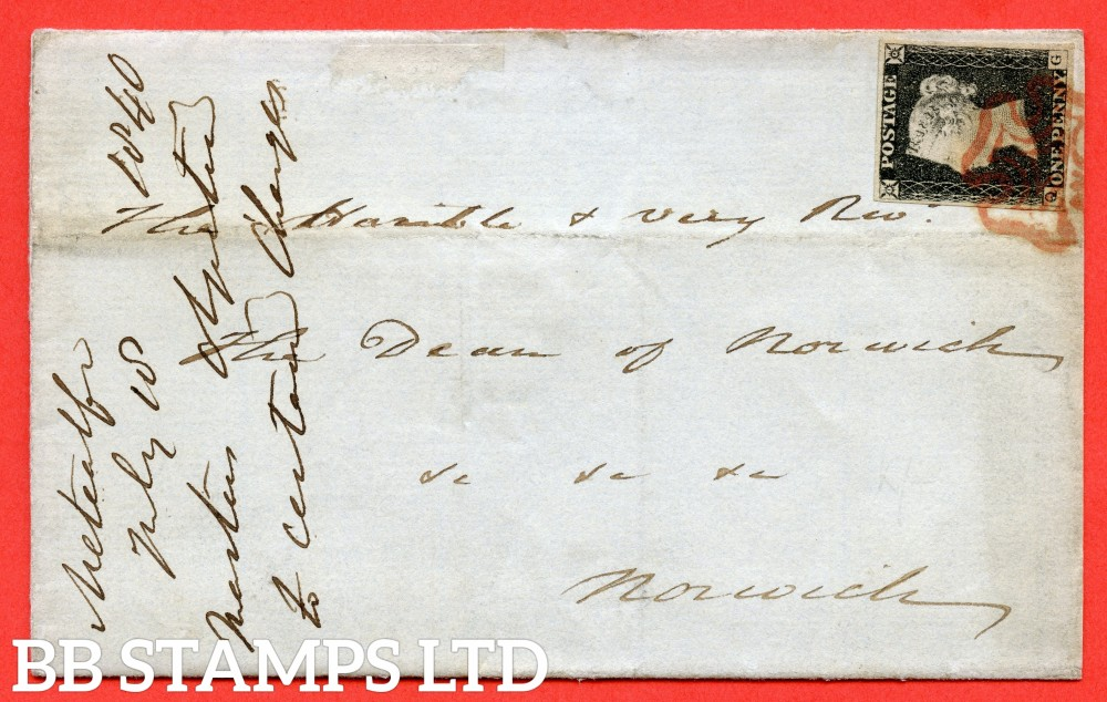 "SG. 3. A1 (3). AS15. "" QG "". 1d Grey Black ( worn plate ). Plate 2. A very fine used example on cover from LONDON to NORWICH dated 17th July 1840. With the "" Ray flaws 10 / 7 NW square "" variety."