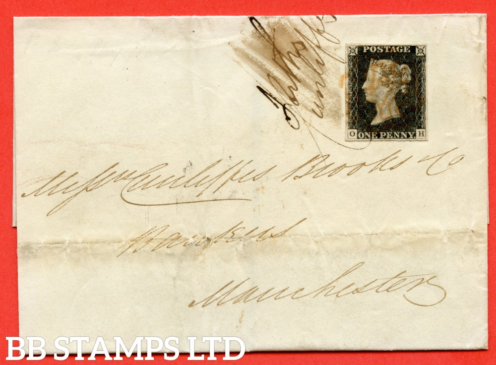 "SG. 2. A1 (2). AS15. "" OH "". 1d Black. Plate 2. A fine used example on cover from DUBLIN to MANCHESTER dated 1st June 1840. With the "" Ray flaws 10/7 NW square "" variety."
