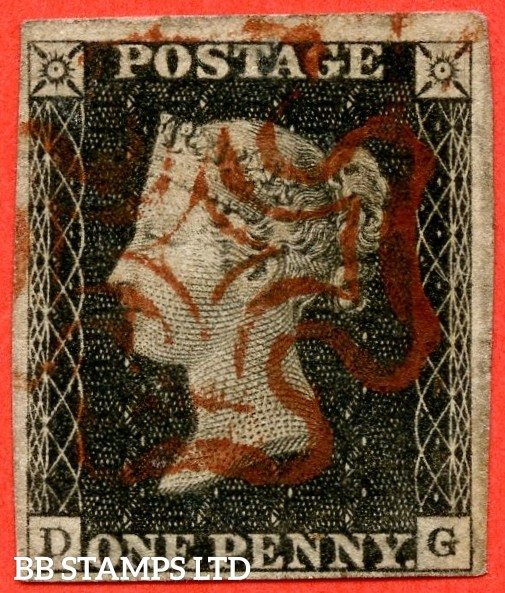 """SG. 2 c. A1 (2) h. AS15 c. """" DG """". 1d black. Plate 2. A good used example with the listed variety """" Vertical guide line NE square and double letter ' D '. """". Also constant variety """" Ray flaws 10 / 7 o'clock NW square """"."""