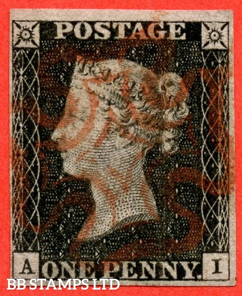 """SG. 2. A1 (2). AS15. """" AI """". 1d black. Plate 2. A fine used example cancelled by a red maltese cross."""