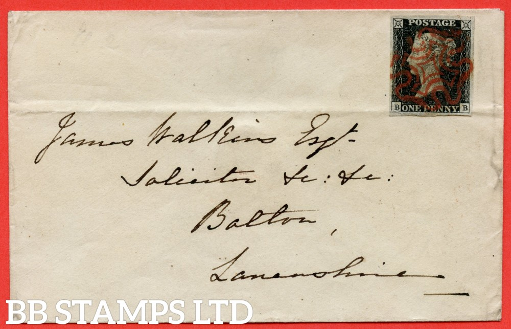 """SG. 2. A1 (2). AS15. """" BB """". 1d black. Plate 2. A very fine used example on cover from BATH to BOLTON dated 11th September 1840. With the """" Ray Flaws 10/7 and two guide dots below SE corner """" varieties."""