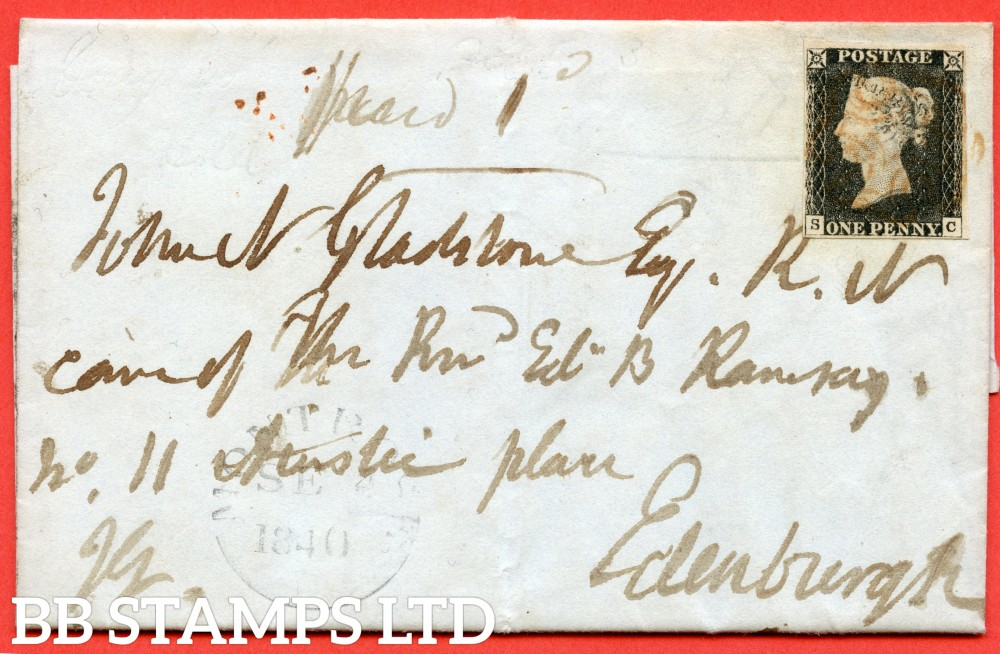 """SG. 2. A1 (2). AS20. """" SC """". 1d black. Plate 3. A fine used example on cover from MONTROSE to EDINBURGH dated 4th September 1840. With the """" Bottom side line extends below and left side line extends below """" varieties."""