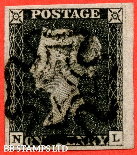 "SG. 2. A1 (2). AS20. "" NL "". 1d black. Plate 3. A superb used example cancelled by a black maltese cross."