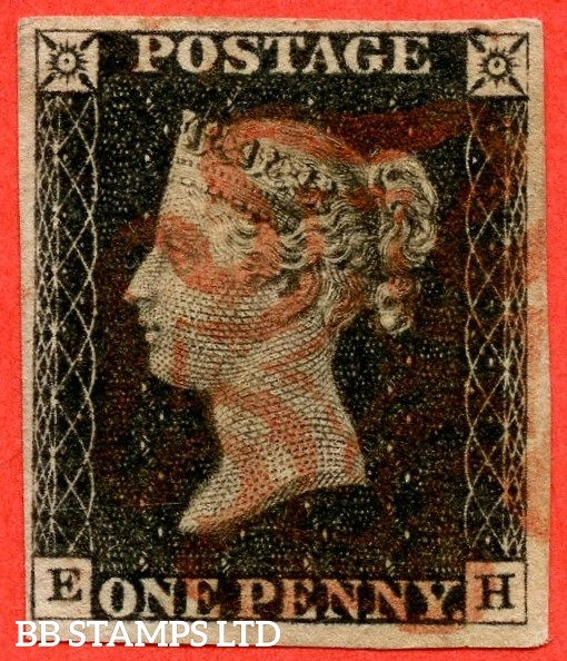 "SG. 2. A1 (2). AS20. "" EH "". 1d black. Plate 3. A fine used example cancelled by a red maltese cross."