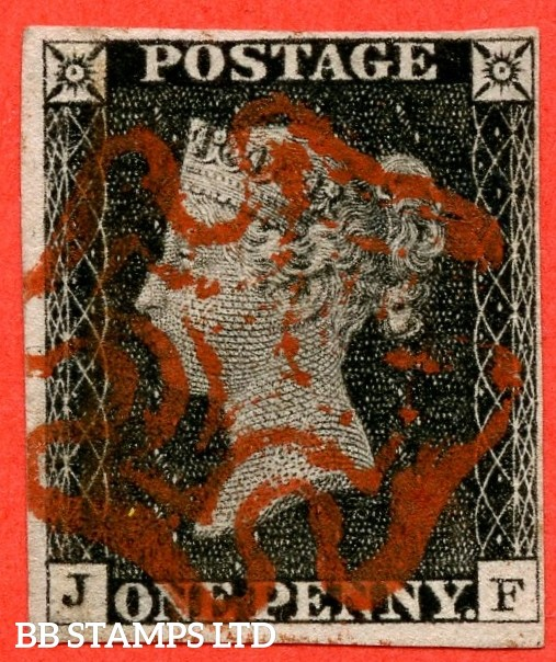 """SG. 2. A1 (2). AS20. """" JF """". 1d black. Plate 3. A fine used example cancelled by a red maltese cross."""