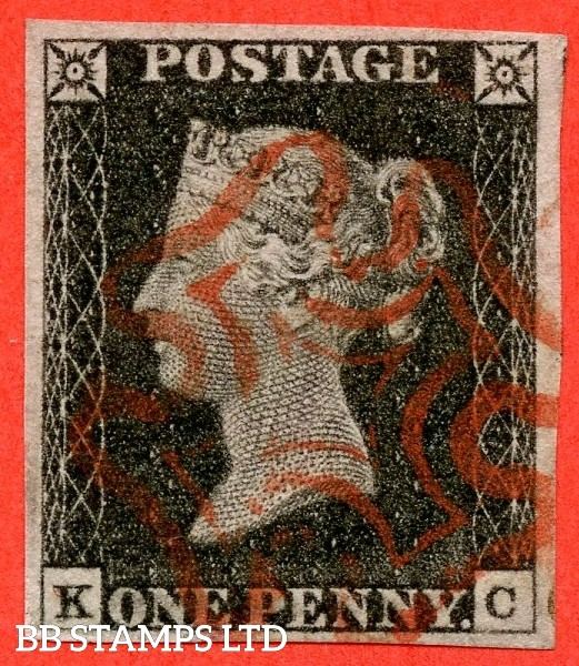 """SG. 2 b. A1 (2) g. AS20 b. """" KC """". 1d black. Plate 3. A very fine used example cancelled by a red maltese cross with the listed variety """" ' K ' doubled """"."""