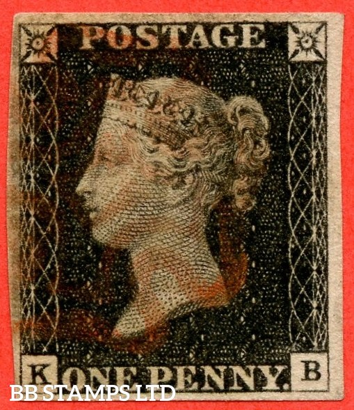 "SG. 2. A1 (2). AS20. "" KB "". 1d black. Plate 3. A fine used example cancelled by a red maltese cross."