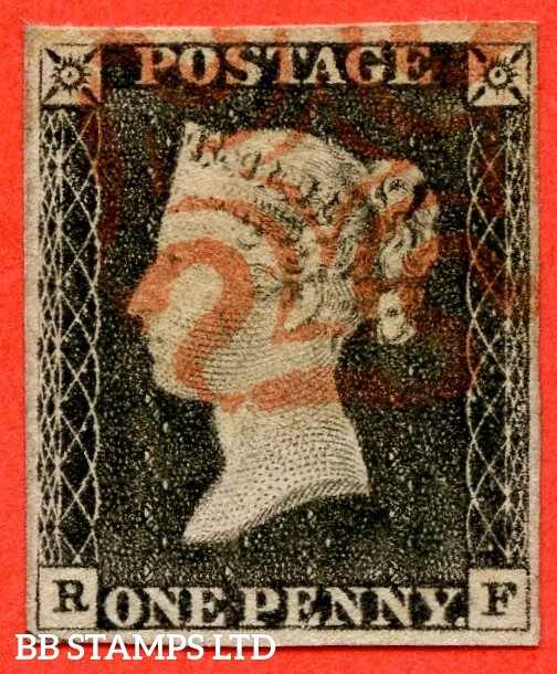 """SG. 3. A1 (3). AS21. """" RF """". 1d grey black ( worn ). Plate 3. A very fine used example cancelled by a red maltese cross."""