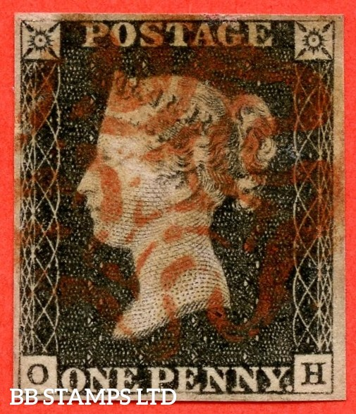 "SG. 2. A1 (2). AS20. "" OH "". 1d black. Plate 3. A fine used example cancelled by a red maltese cross."