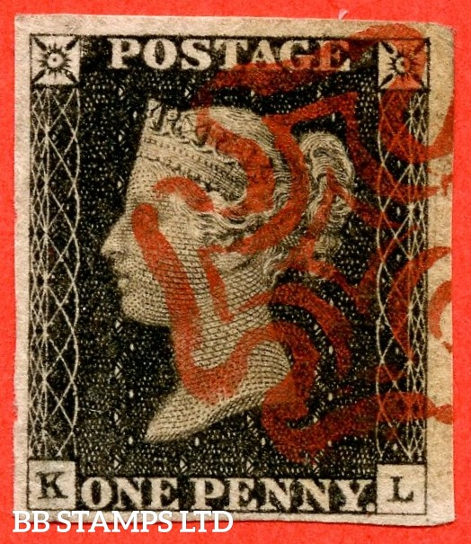 """SG. 2. A1 (2). AS20. """" KL """". 1d black. Plate 3. A very fine used example cancelled by a red maltese cross. With the """" Guide dot below SE corner """" variety."""