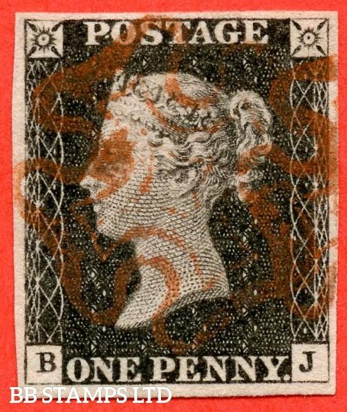 """SG. 2. A1 (2). AS20. """" BJ """". 1d black. Plate 3. A fine used example cancelled by a red maltese cross."""