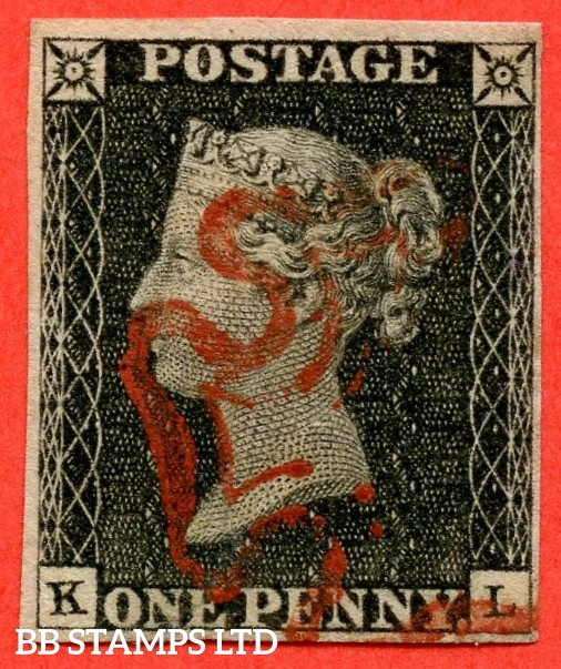 """SG. 2. A1 (2). AS20. """" KL """". 1d black. Plate 3. A very fine used example cancelled by a red maltese cross."""