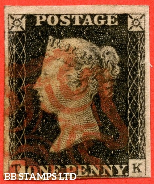 """SG. 2. A1 (2). AS20 c. """" TK """". 1d black. Plate 3. A fine used example cancelled by a red maltese cross. With the listed constant varieties """" Mark to left of ' T ' in SW square and mark on ' E ' of ' POSTAGE ' """"."""