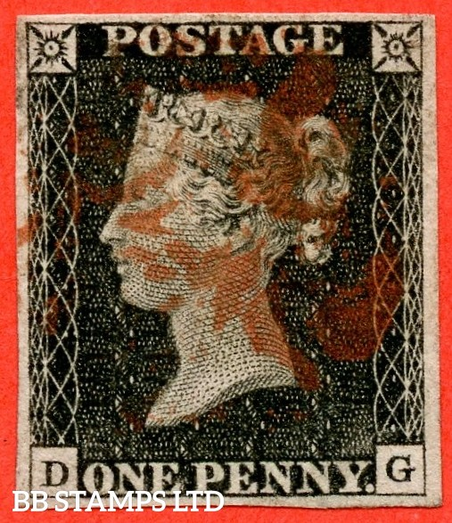 """SG. 2. A1 (2). AS20. """" DG """". 1d black. Plate 3. A good used example cancelled by a red maltese cross."""