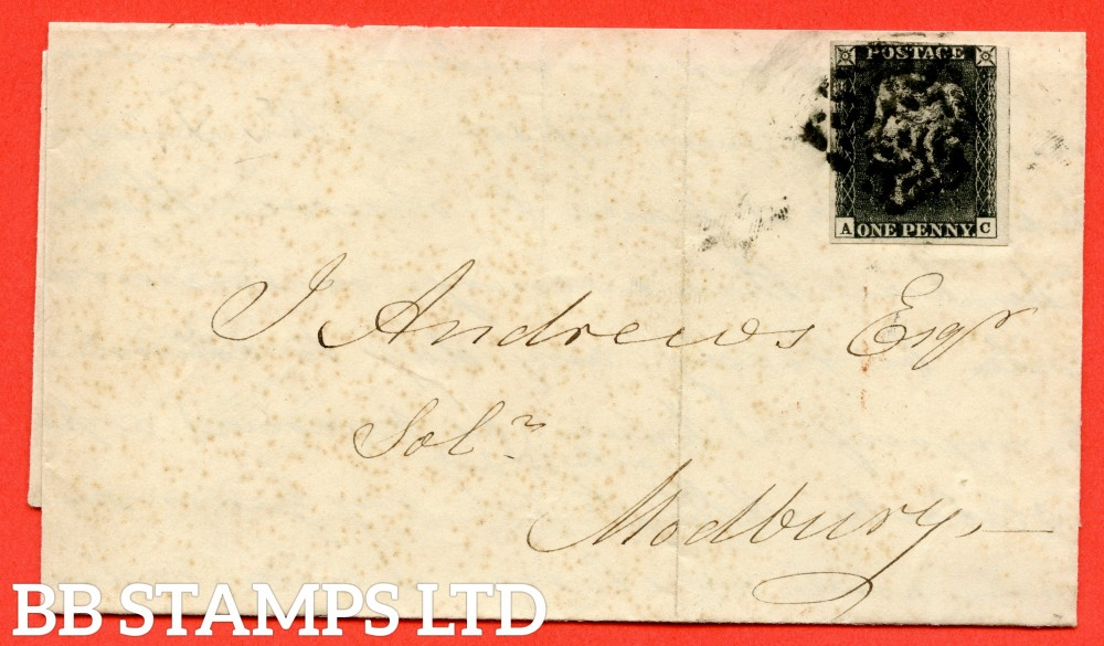 """SG. 3. A1 (3). AS21. """" AC """". 1d grey black ( worn ). Plate 3. A used example on cover from KINGSBRIDGE to MODBURY dated 1841."""