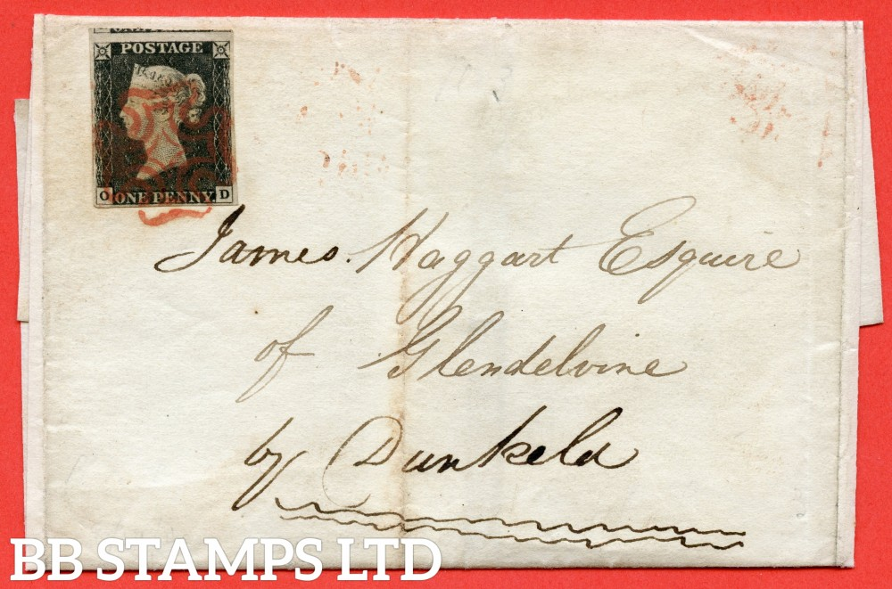 "SG. 2. A1 (2). AS20. "" OD "". 1d black. Plate 3. A fine used example on cover from EDINBURGH to DUNKFIELD dated 19th August 1840."