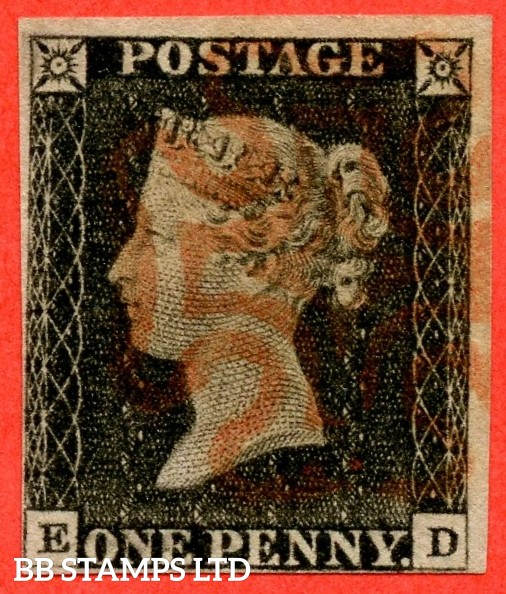 """SG. 2. A1 (2). AS20. """" ED """". 1d black. Plate 3. A fine used example cancelled by a red maltese cross."""