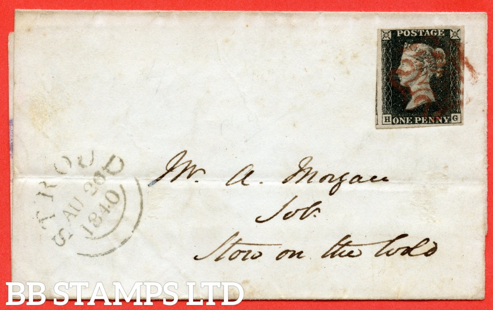 "SG. 2. A1 (2). AS23. "" HG "". 1d black. Plate 4. A fine used example on cover from STROUD to ST ON THE WOLD dated 26th August 1840."